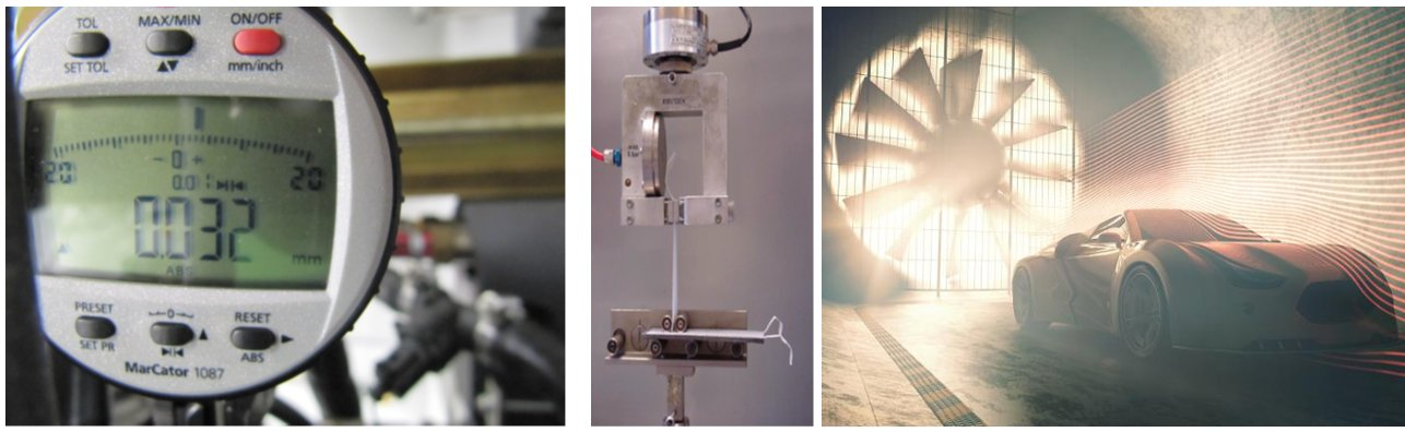 measurements wind tunnel, water tunnel, prototype tests, tensile tests, material tests